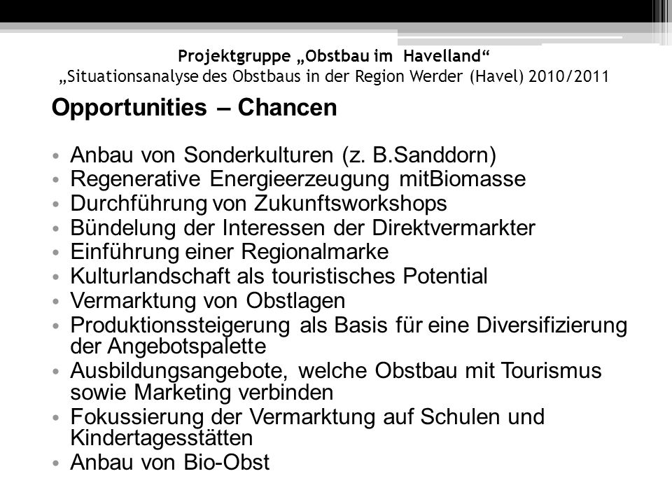 Opportunities – Chancen