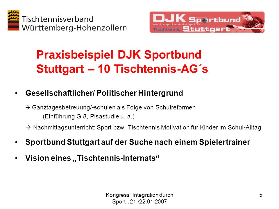 Kongress Integration durch Sport , 21./22.01.2007