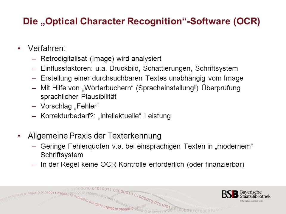 "Die ""Optical Character Recognition -Software (OCR)"