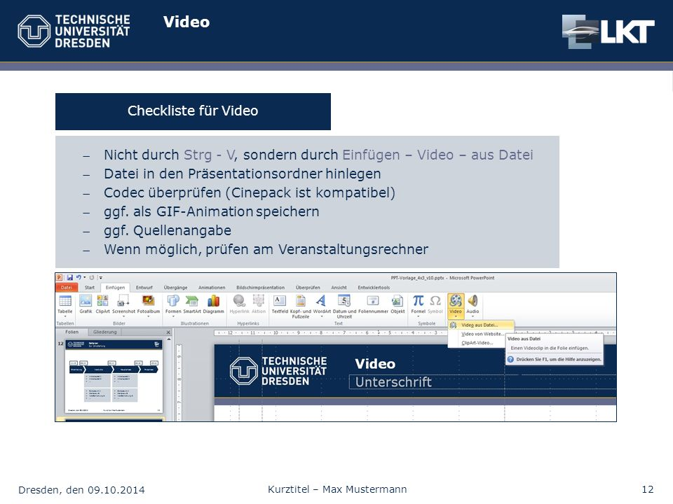 Video Checkliste für Video