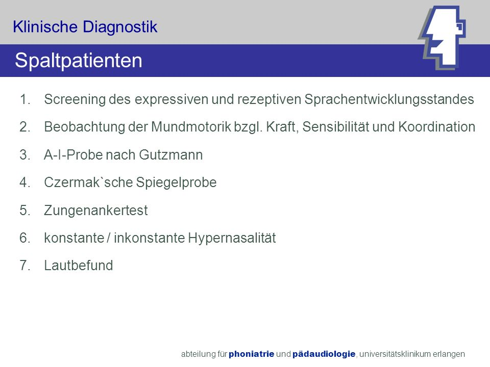 Spaltpatienten Klinische Diagnostik