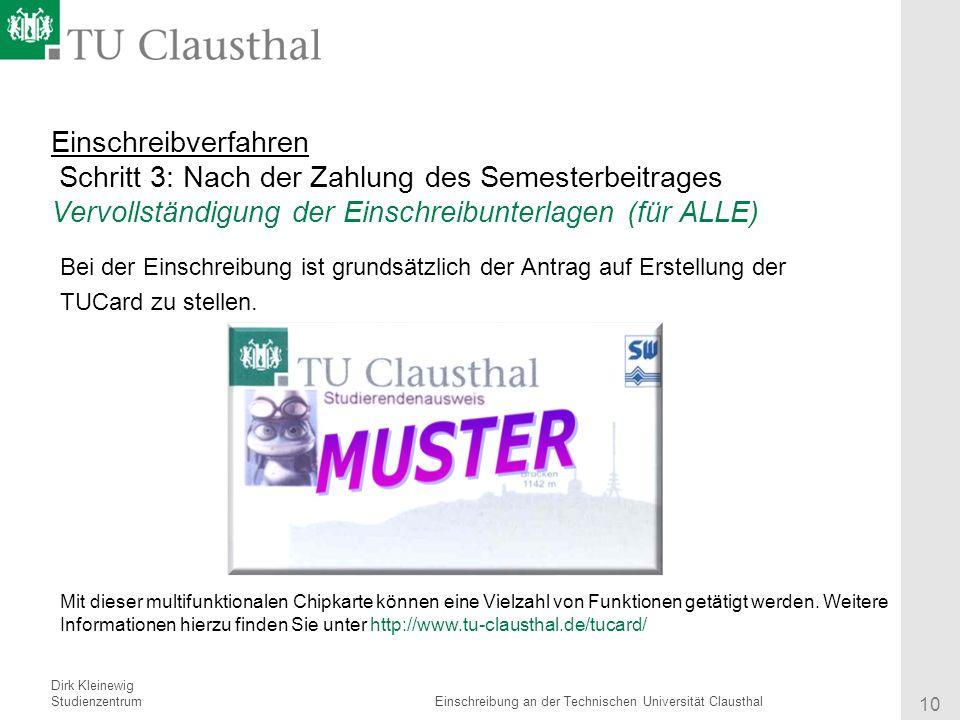 10 einschreibverfahren - Tu Clausthal Bewerbung