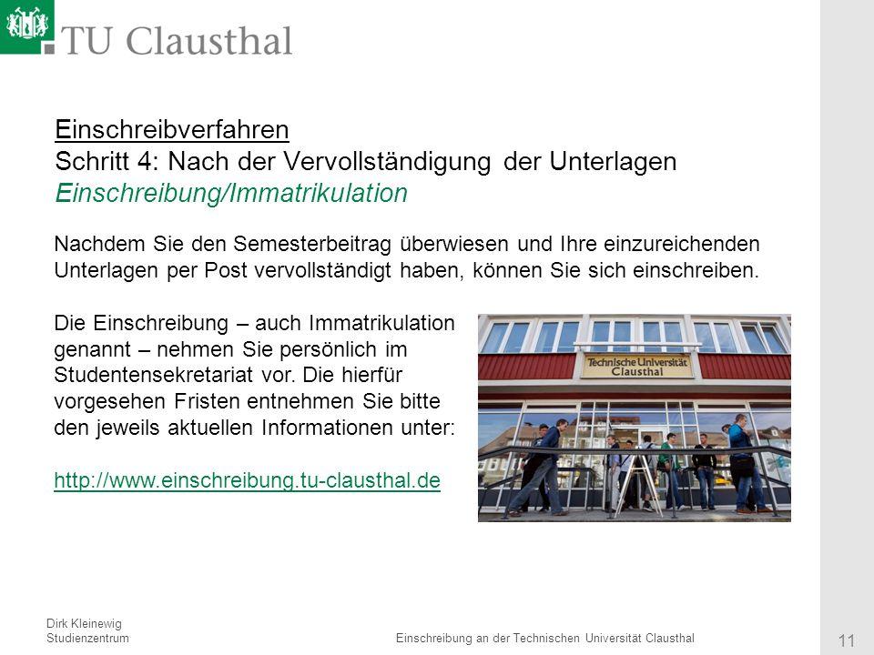 11 einschreibverfahren - Tu Clausthal Bewerbung