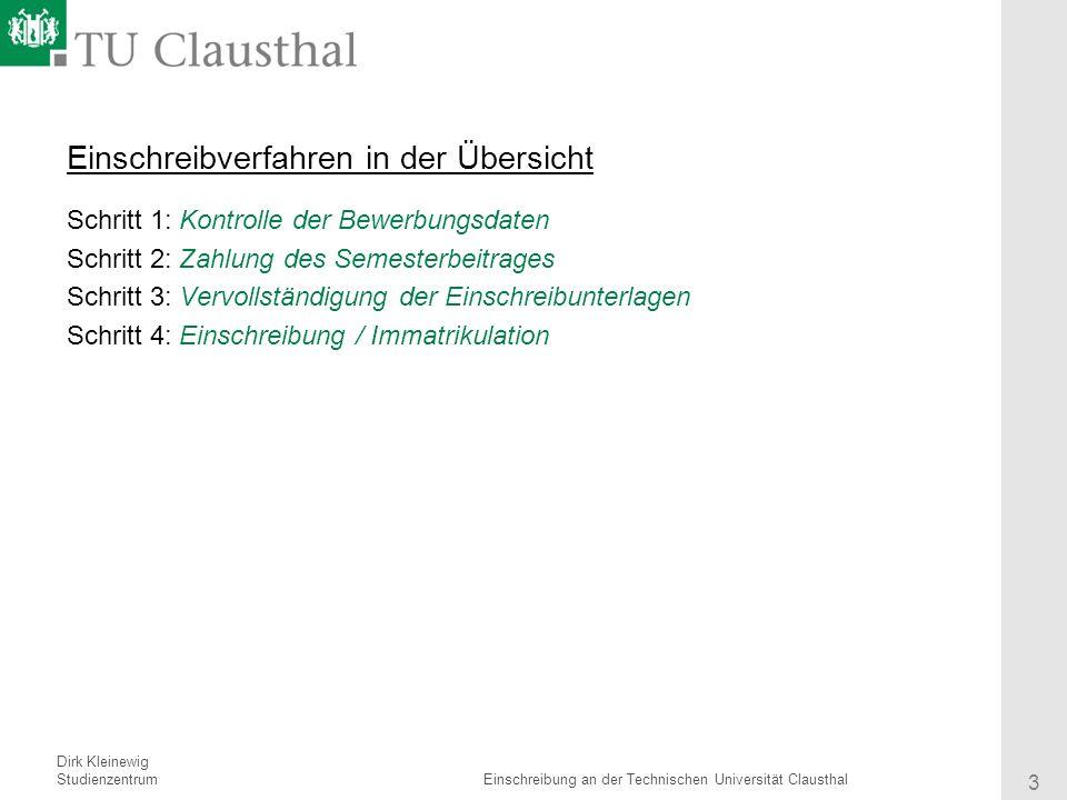 3 einschreibverfahren - Tu Clausthal Bewerbung