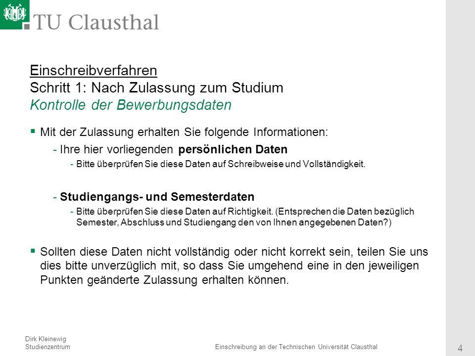 4 einschreibverfahren - Tu Clausthal Bewerbung