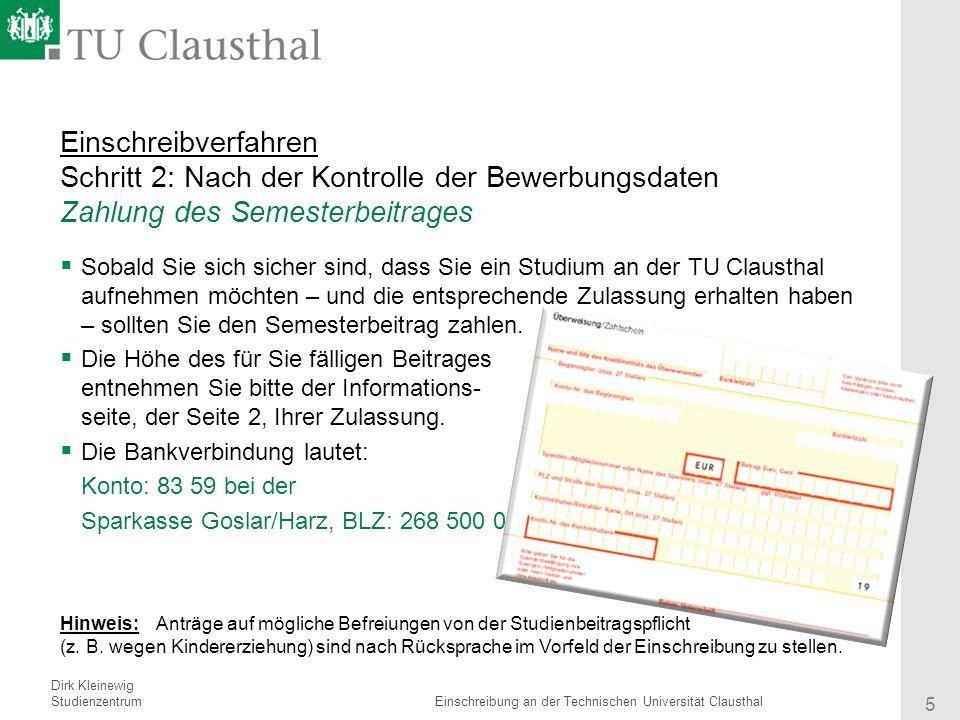 5 einschreibverfahren - Tu Clausthal Bewerbung