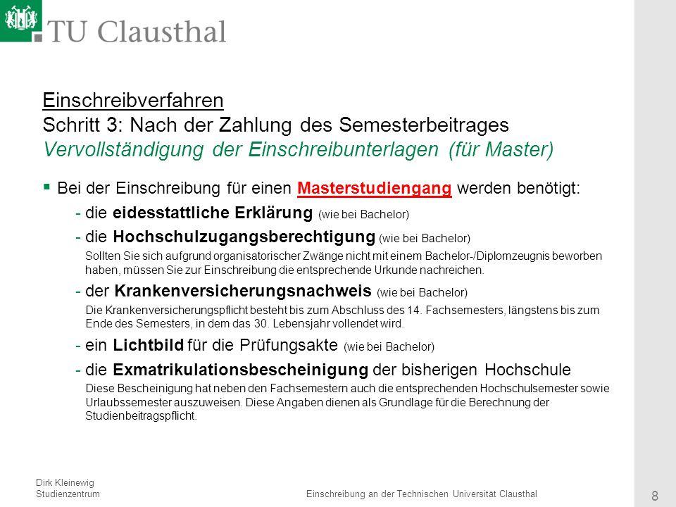 8 einschreibverfahren - Tu Clausthal Bewerbung