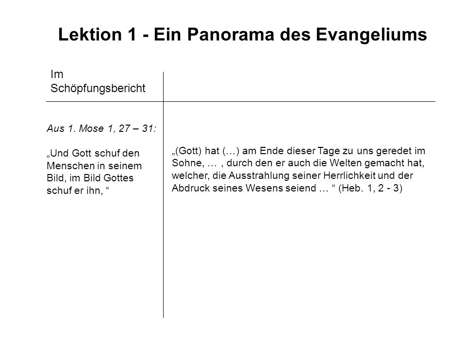 Lektion 1 - Ein Panorama des Evangeliums
