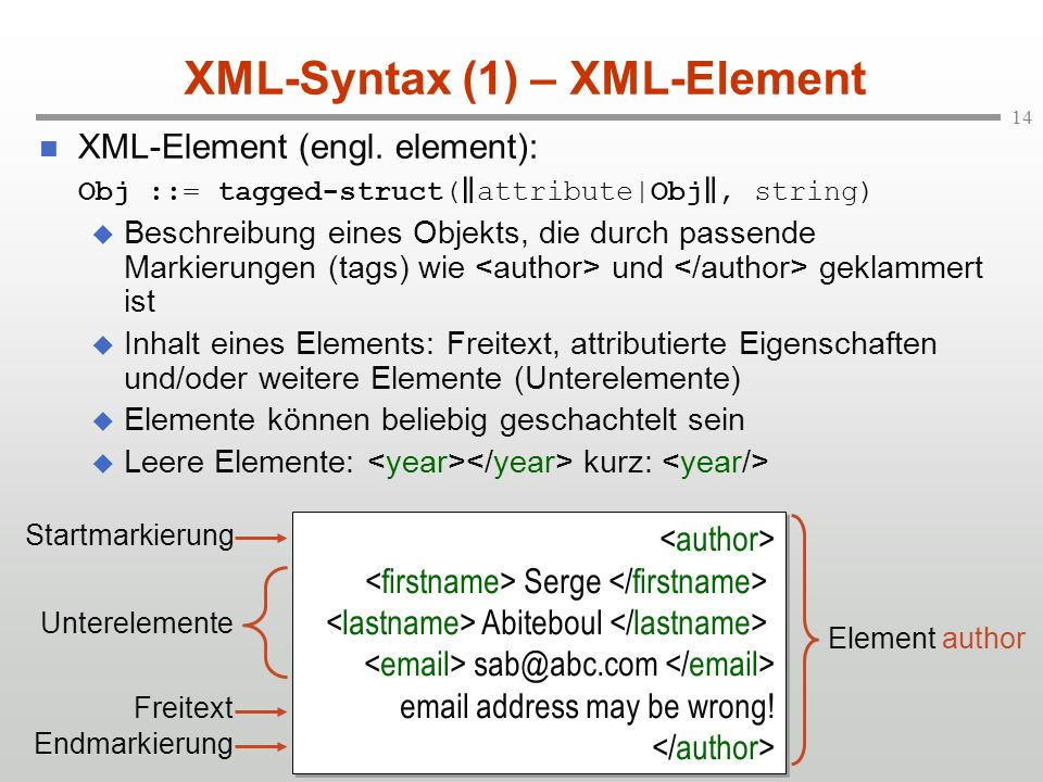 XML-Syntax (1) – XML-Element
