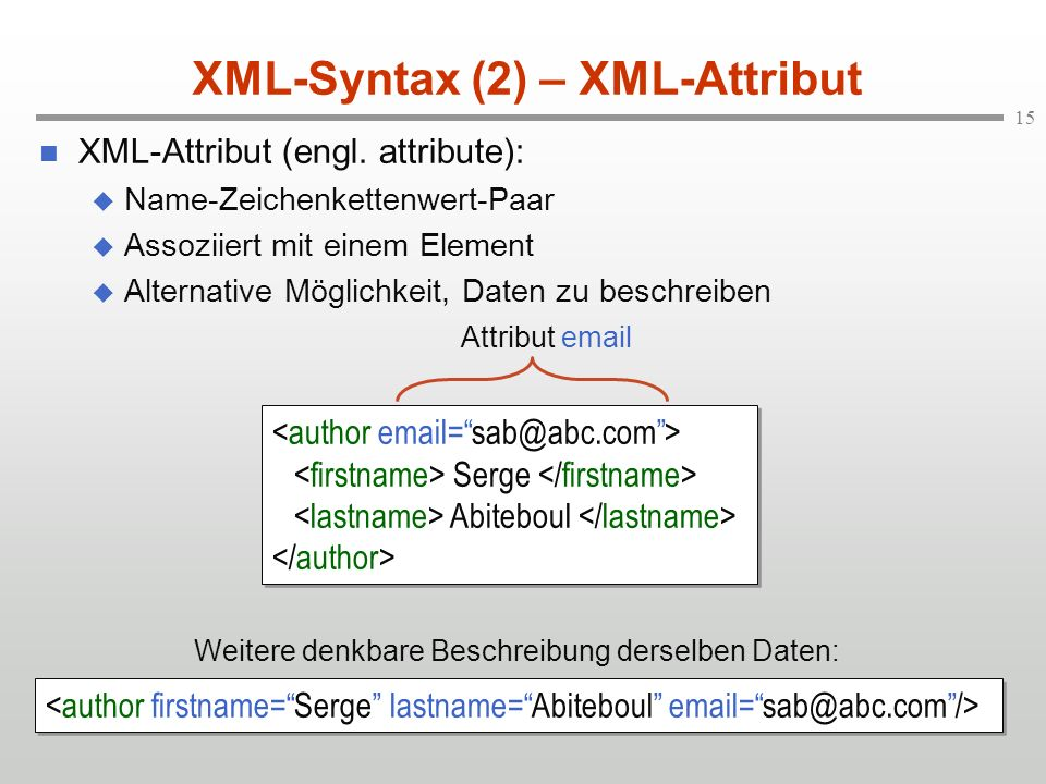 XML-Syntax (2) – XML-Attribut