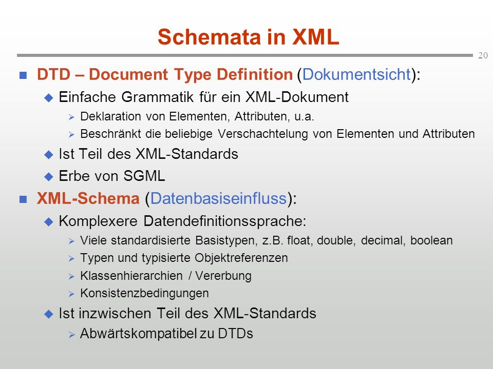 Schemata in XML DTD – Document Type Definition (Dokumentsicht):