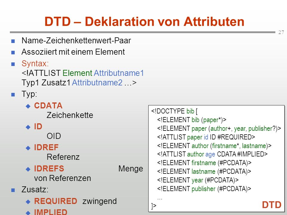 DTD – Deklaration von Attributen