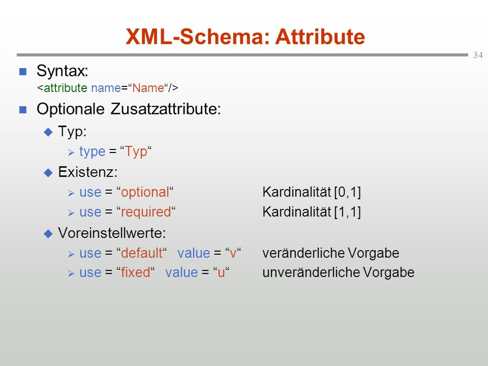 XML-Schema: Attribute