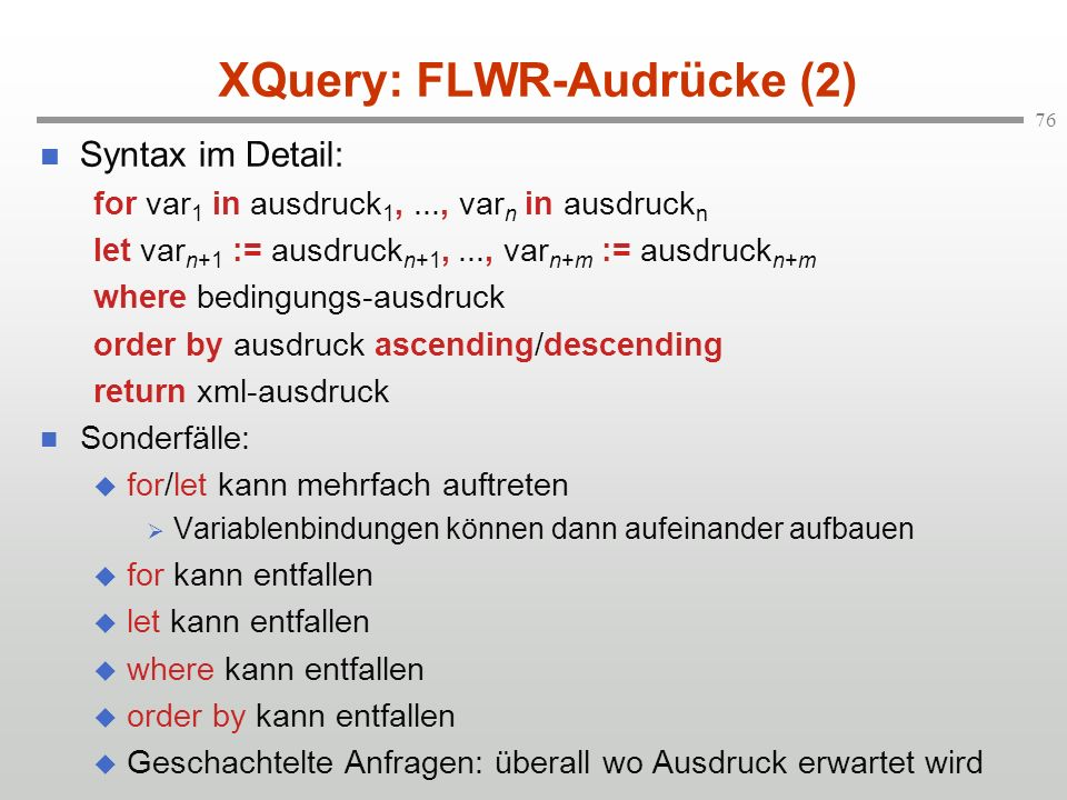 XQuery: FLWR-Audrücke (2)
