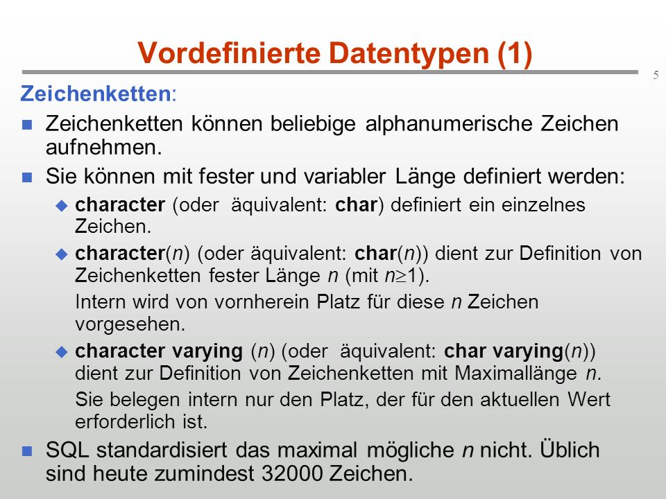 Vordefinierte Datentypen (1)