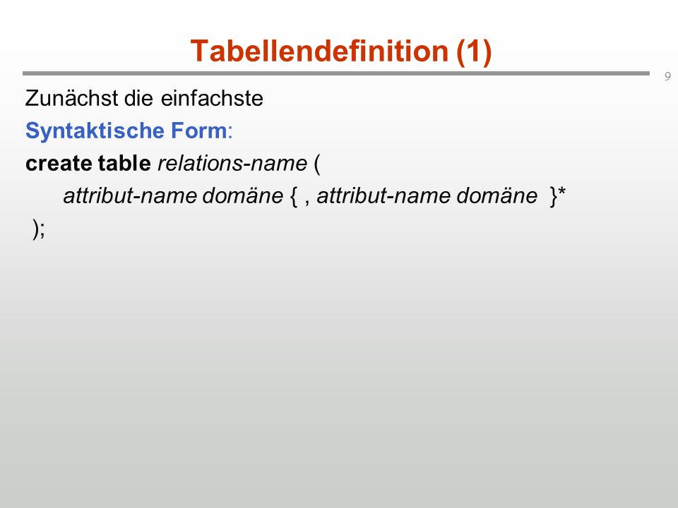 Tabellendefinition (1)