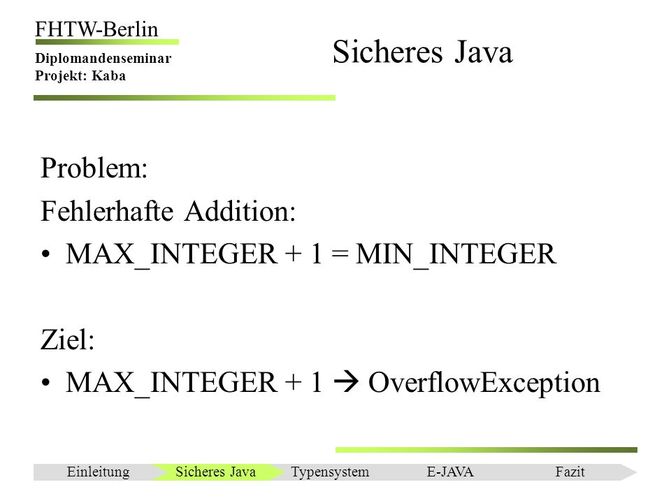 Sicheres Java Problem: Fehlerhafte Addition: