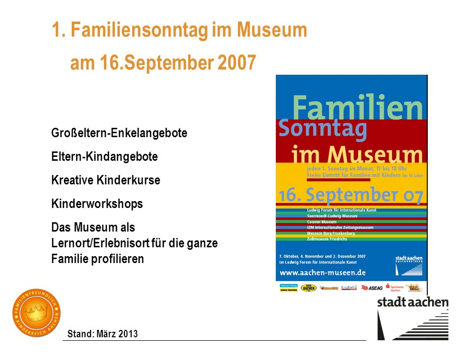 1. Familiensonntag im Museum am 16.September 2007