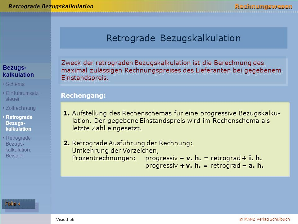Retrograde Bezugskalkulation