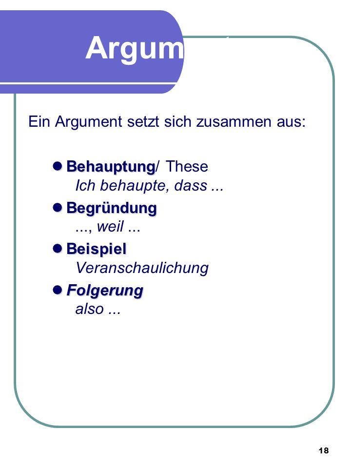 18 argumente - Behauptung Begrundung Beispiel