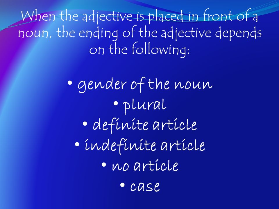 gender of the noun plural definite article indefinite article