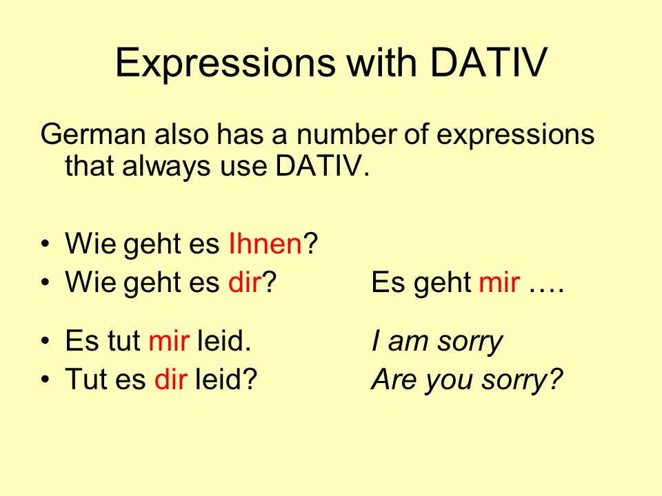 Expressions with DATIV