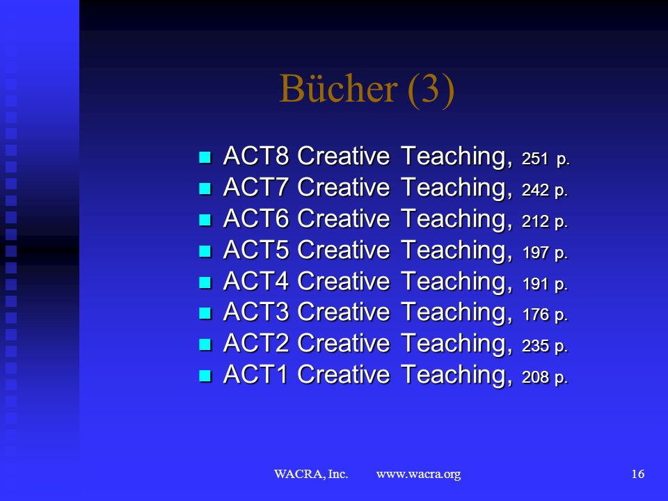 Bücher (3) ACT8 Creative Teaching, 251 p.