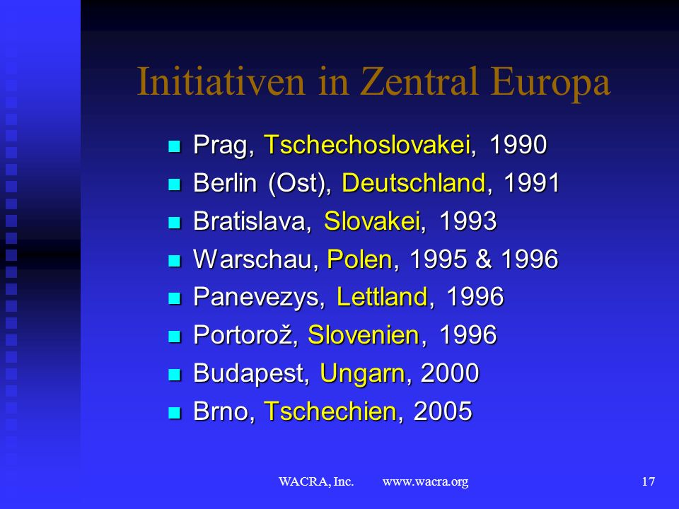 Initiativen in Zentral Europa