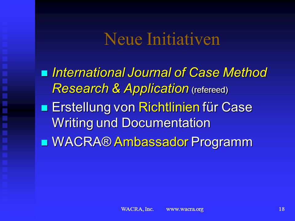 Neue Initiativen International Journal of Case Method Research & Application (refereed)
