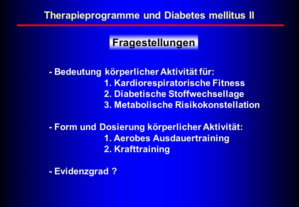 Therapieprogramme und Diabetes mellitus II