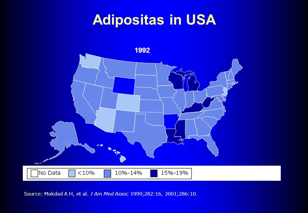 Adipositas in USA 1992 Source: Mokdad A H, et al. J Am Med Assoc 1999;282:16, 2001;286:10.