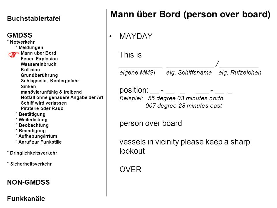Mann über Bord (person over board)