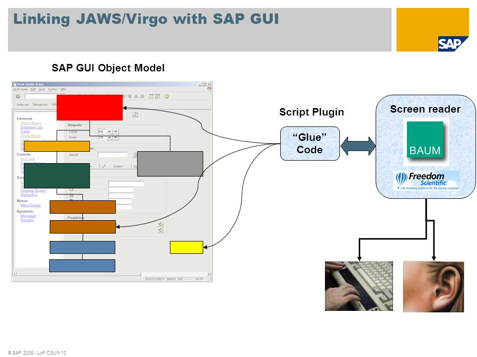 Linking JAWS/Virgo with SAP GUI