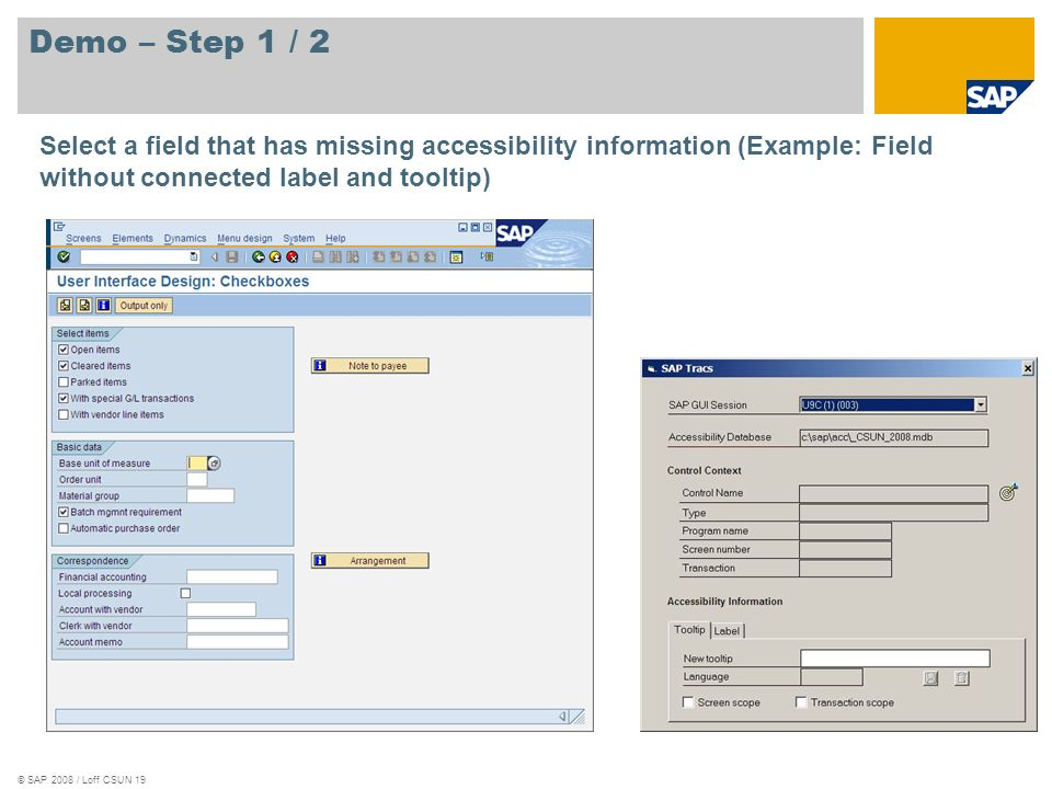 Demo – Step 1 / 2 Select a field that has missing accessibility information (Example: Field without connected label and tooltip)