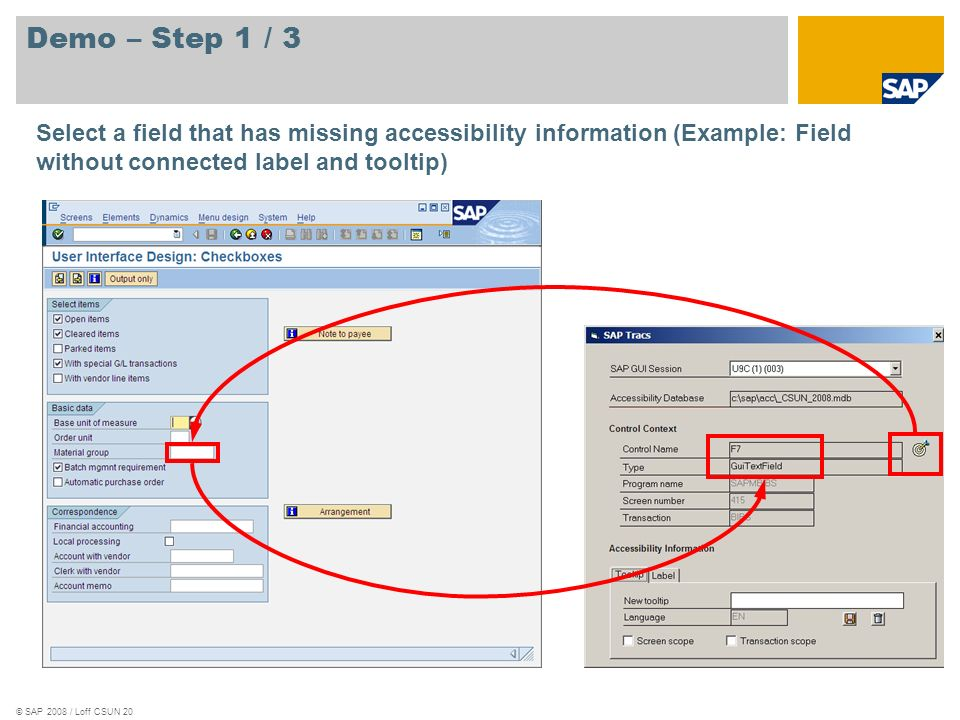 Demo – Step 1 / 3 Select a field that has missing accessibility information (Example: Field without connected label and tooltip)