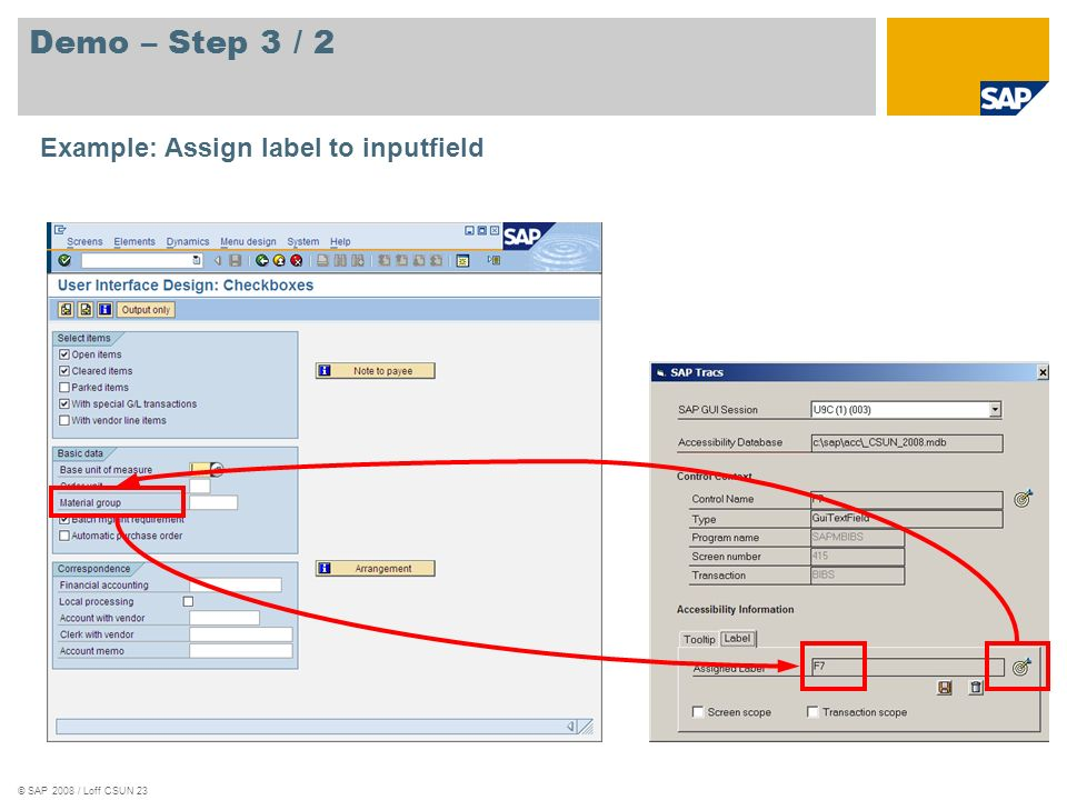 Demo – Step 3 / 2 Example: Assign label to inputfield