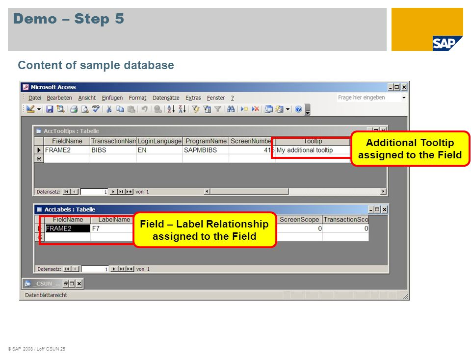 Demo – Step 5 Content of sample database