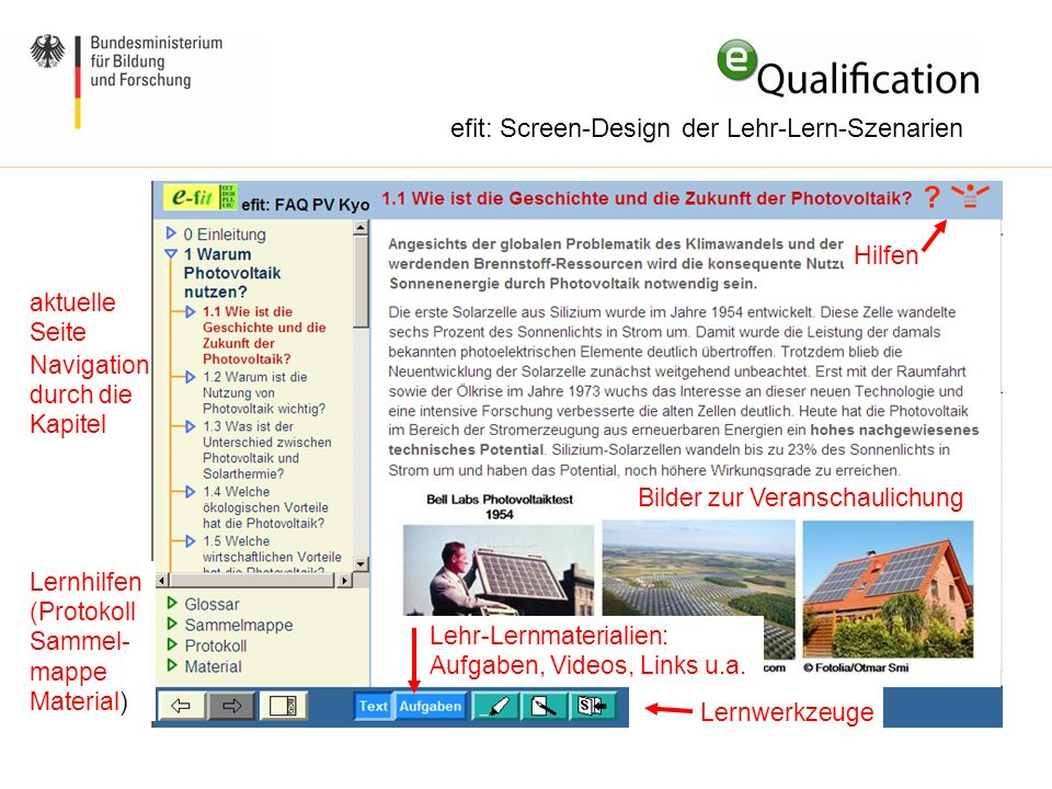 efit: Screen-Design der Lehr-Lern-Szenarien