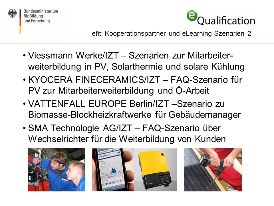 efit: Kooperationspartner und eLearning-Szenarien 2