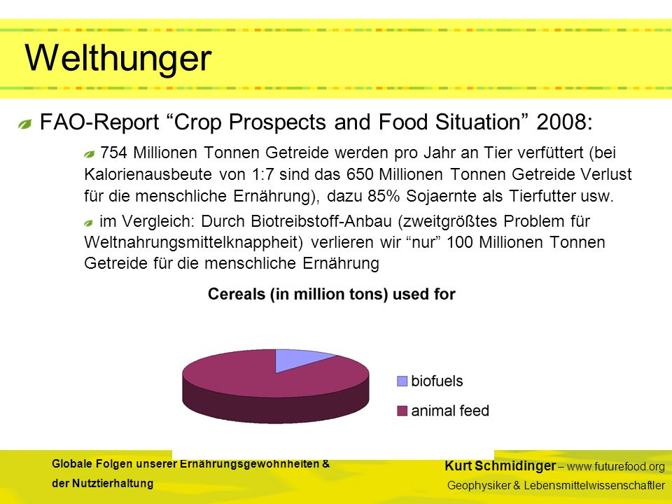 Welthunger FAO-Report Crop Prospects and Food Situation 2008: