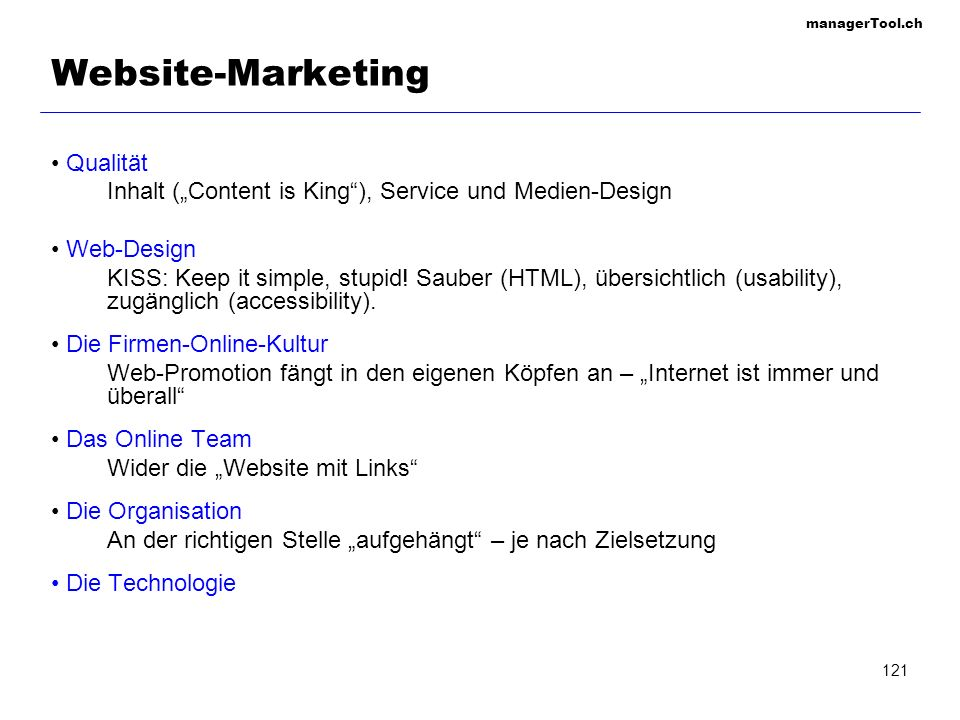 Website-Marketing Qualität