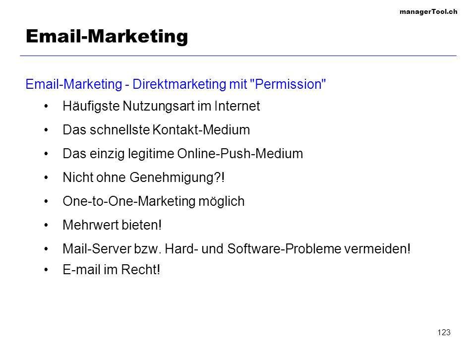 -Marketing  -Marketing - Direktmarketing mit Permission