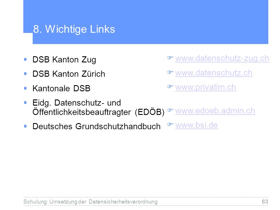 8. Wichtige Links