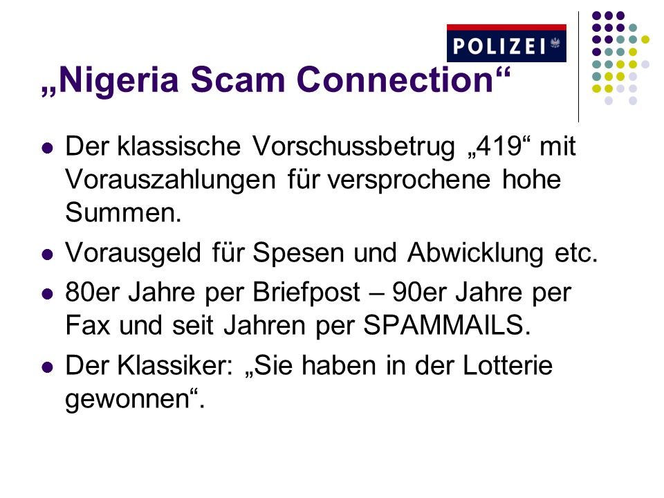 """Nigeria Scam Connection"