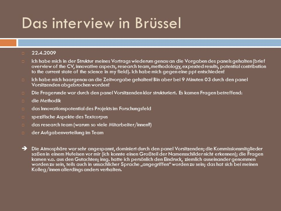 Das interview in Brüssel
