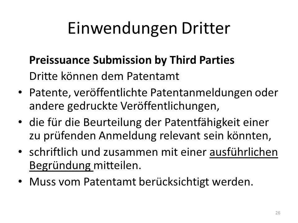 Einwendungen Dritter Preissuance Submission by Third Parties
