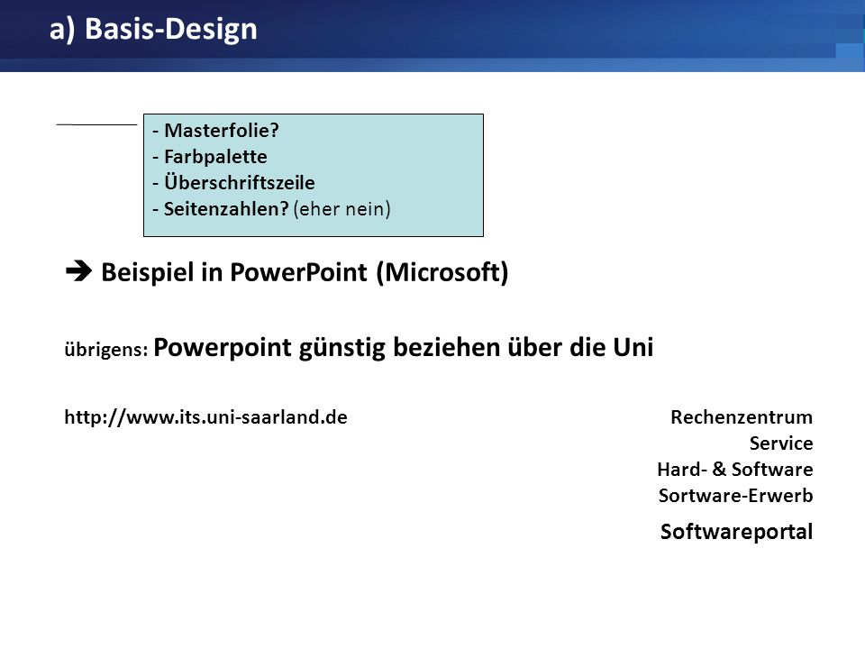 a) Basis-Design  Beispiel in PowerPoint (Microsoft) Softwareportal