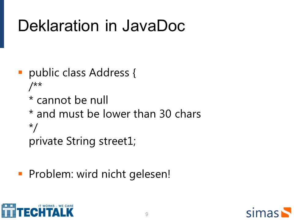 Deklaration in JavaDoc