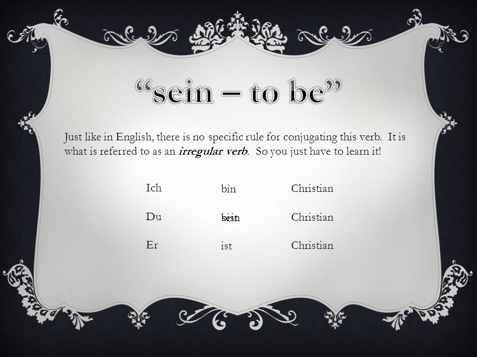 sein – to be