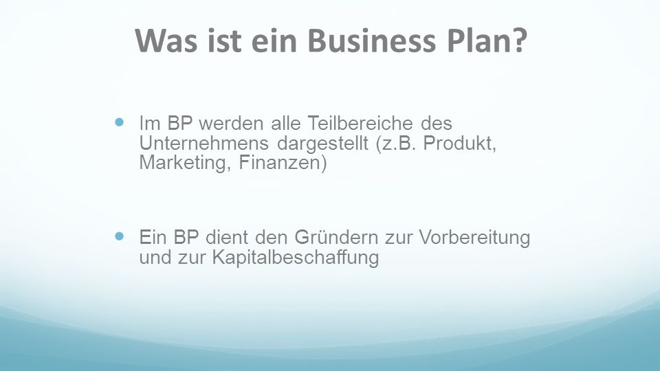 Was ist ein Business Plan